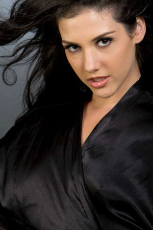 Dark hair ethnic girl beauty shot