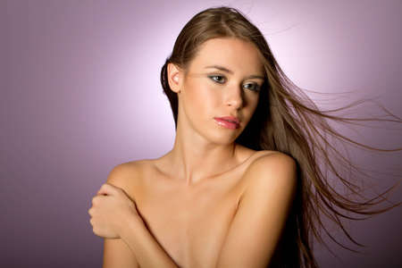 Gorgeous girl with long brunette hair beauty shot Stock Photo - 8107956