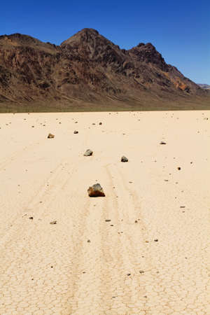 Famous moving rocks in Death Valley CA Stock Photo