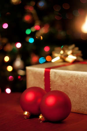 Christmas presents, ornaments and tree