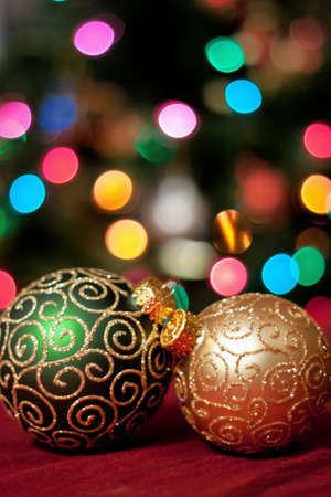 Beautiful gold and green Christmas ornaments