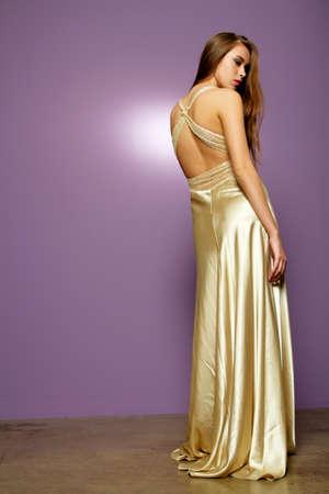 Sexy fashion meisje in mooie jurk Stockfoto