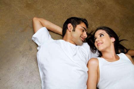 Happy ethnic couple dating Archivio Fotografico