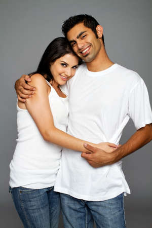 Happy ethnic couple dating photo