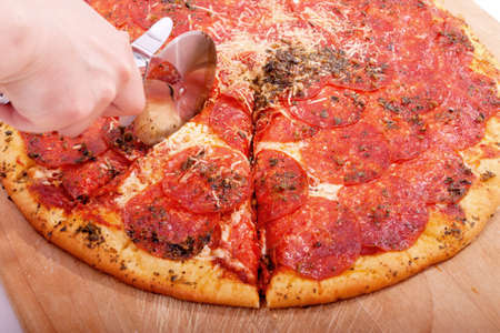 Delicious home cooked pepperoni pizza ready to serve
