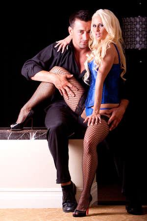 Sexy couple, woman in lingerie Фото со стока