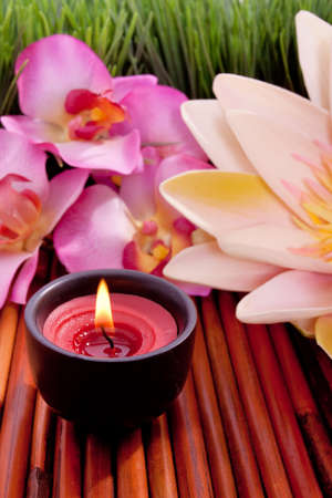 Spa candle and colorful flower for aromatherapy meditation Standard-Bild