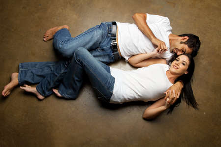 Happy ethnic couple dating Stock Photo - 8551355