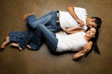Happy ethnic couple dating Stock Photo
