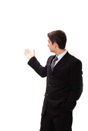 Businessman in suit doing a presentation photo
