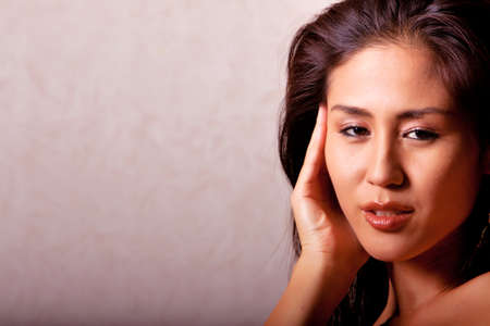 beauty shot: Gorgeous Japanese woman beauty shot in studio