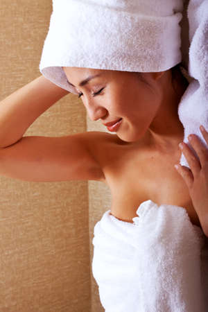 japenese: Beautiful japanese woman in bathroom with towels