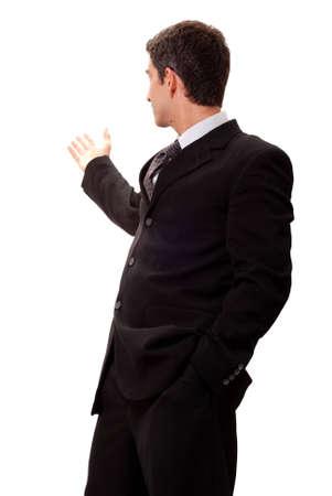 Businessman in dark suit doing presentation photo