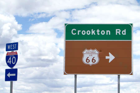 southwest usa: Route 66 and I-40 road signs in Southwest USA