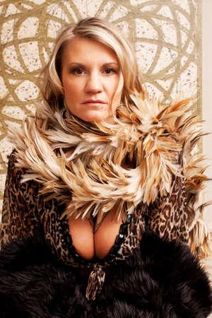 Beautiful mature woman fashion portrait photo