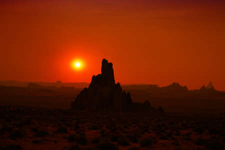 rock formation: Rock formation silhouettes during sunset in Monument Valley AZ USA