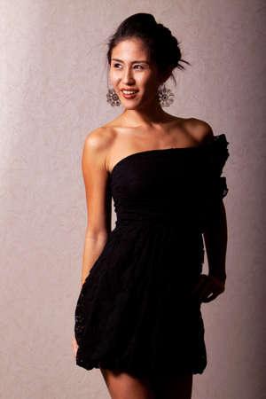 Gorgeous japanese woman wearing beautiful fashion dress photo