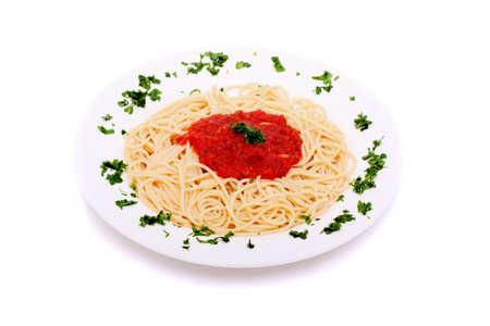 Köstliche hausgemachte Spaghetti gekrönt mit heißen Tomaten sauce Standard-Bild - 10271169