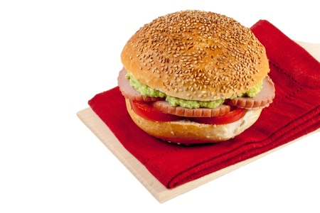 sandwich with turkey, tomato and avocado Stock Photo