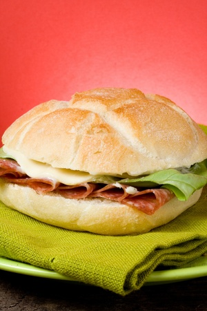 sandwich with salami,lattuce and blue cheeese photo