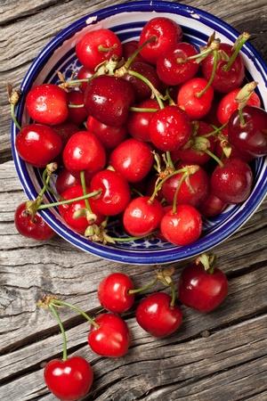 seasonal fresh cherry fruit on basket
