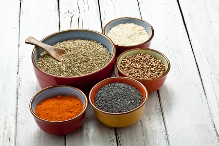 flavorings: close up of spices on bowl