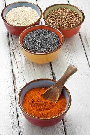 close up of spices on bowl photo