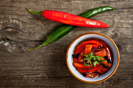 grilled peppers seasoned with olive oil