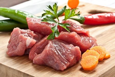 chopped: chopped raw meat on a chopping board