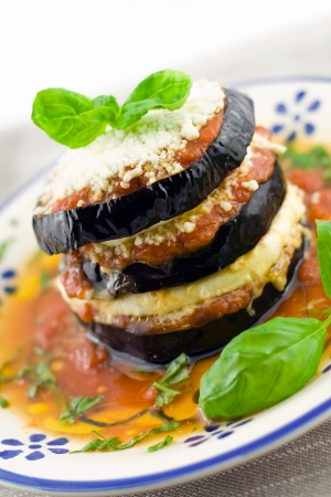 leguminous: eggplants parmigiana  with cheese and tomato traditional recipe