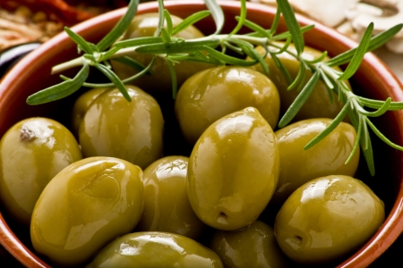 rustic appetizer with giants Spanish olives on a bowl