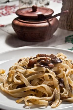 italian pasta tagliatelle with porcini mushroom Stock Photo