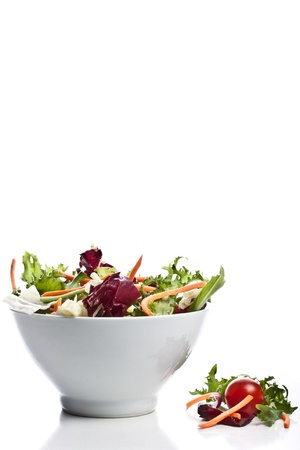 romaine: mixed salad on a bowl - withe background Stock Photo