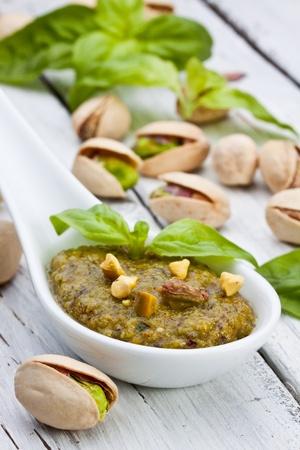 sicilian pistachio pesto sauce with basil and olive oil