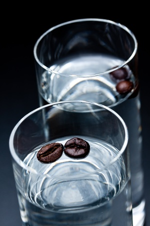 glass of sambuca with coffee beans Stock Photo