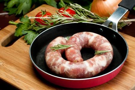 italian raw pork sausage on a pan photo
