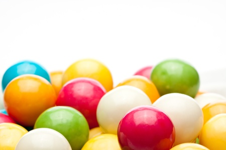 multicolored gumballs: many colored gumballs on a white background Stock Photo