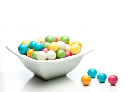 bubblegum: many colored gumballs on a white background Stock Photo