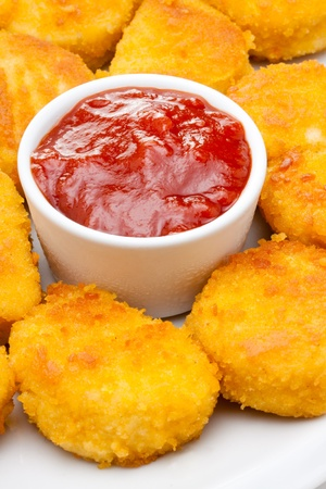 chicken nuggets with tomato ketchup Stockfoto