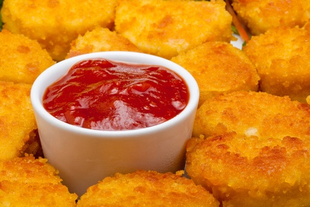 chicken nuggets with tomato ketchup photo