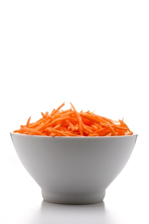 julienne: some fresh julienne carrots served on a bowl Stock Photo