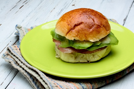 brioche with avocado an loia of pork