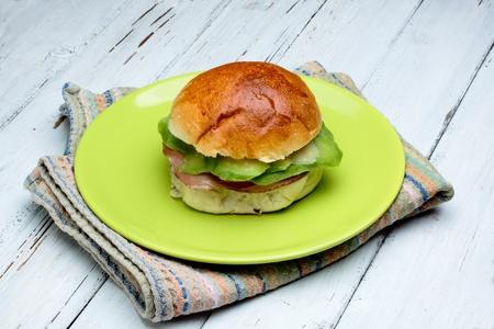 brioche with avocado an loin of pork