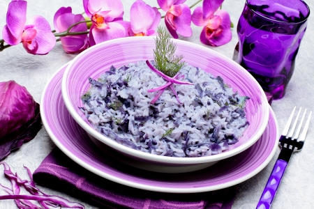 riso with red cabbage - italian recipe photo