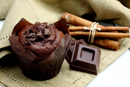 delicious homemade chocolate muffins-baked product Stockfoto