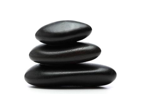 Black stones isolated on white background