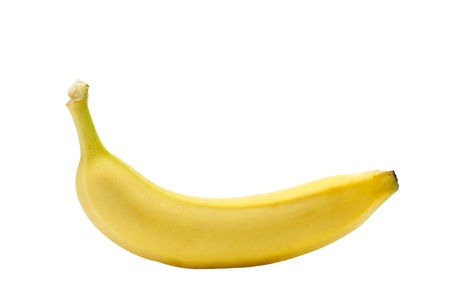 a single banana fruit isolated on a white background