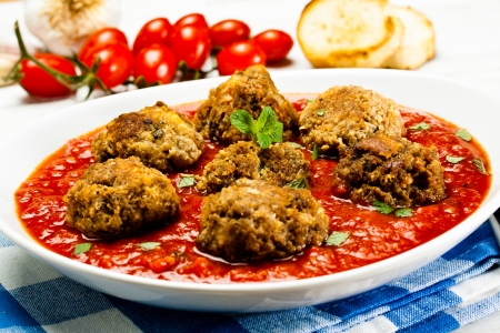 ground beef: meatballs with tomato souce and mint