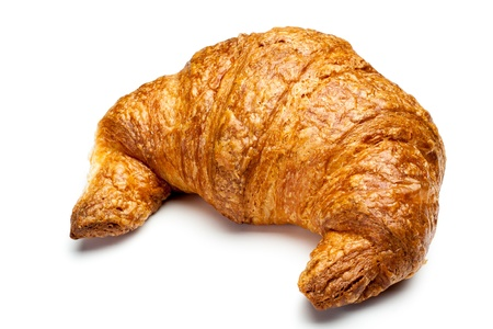 a fresh single croissant on white background