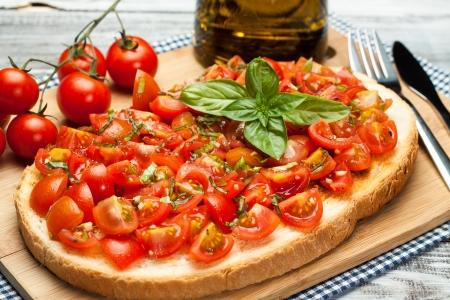 tasty  Mediterranean bruschetta, traditional Italian cuisine